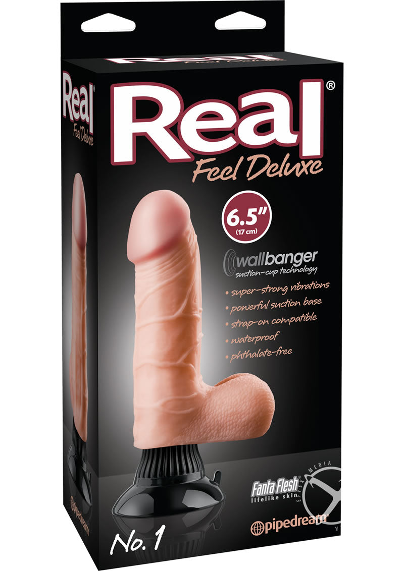 Reel Feel Deluxe No. 1 Wallbanger Vibrating Dildo With Balls 6.5in - Vanilla
