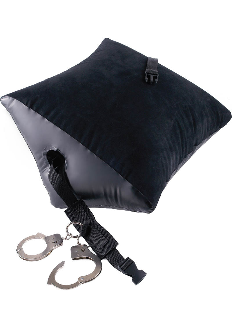Fetish Fantasy Series Deluxe Position Master Inflatable Pillow With Cuffs - Black