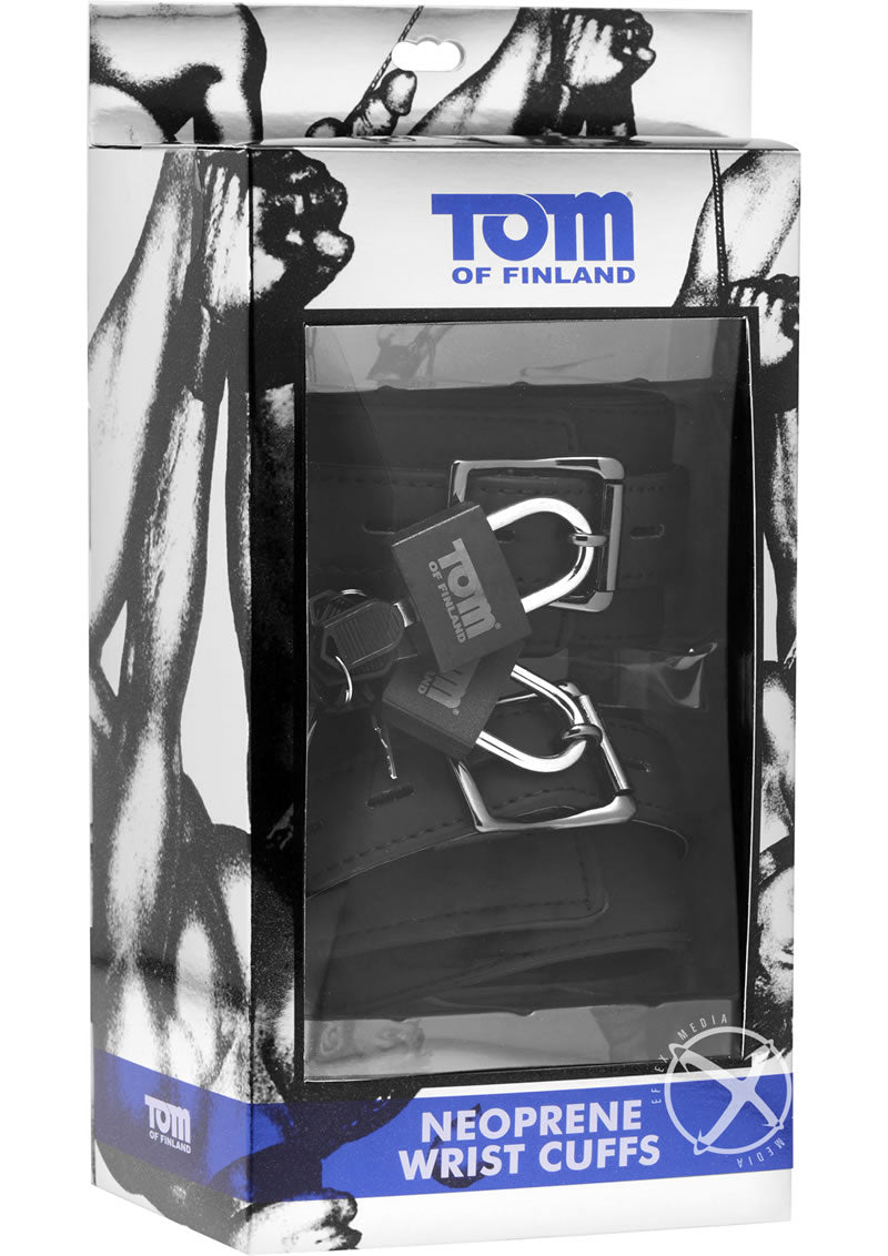 Tom Of Finland Neoprene Wrist Cuffs with Locks - Black