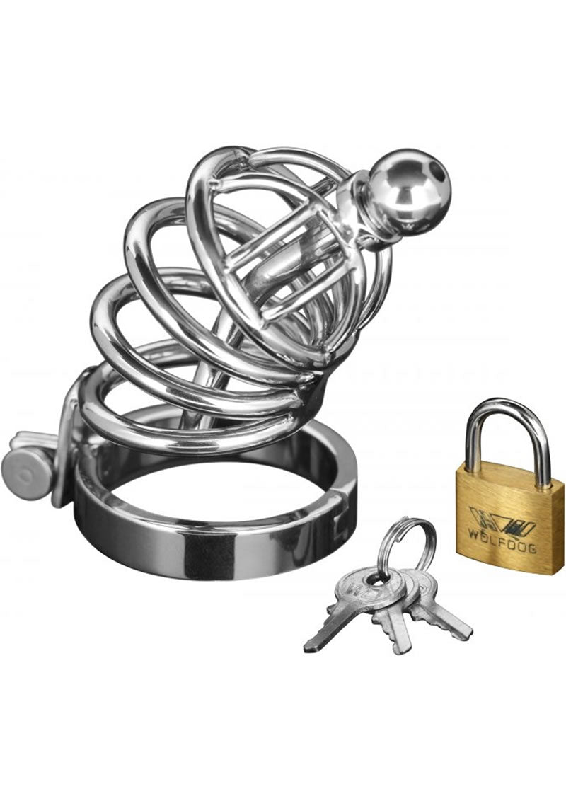 Master Series Asylum 4 Ring Locking Chastity Cage - Silver