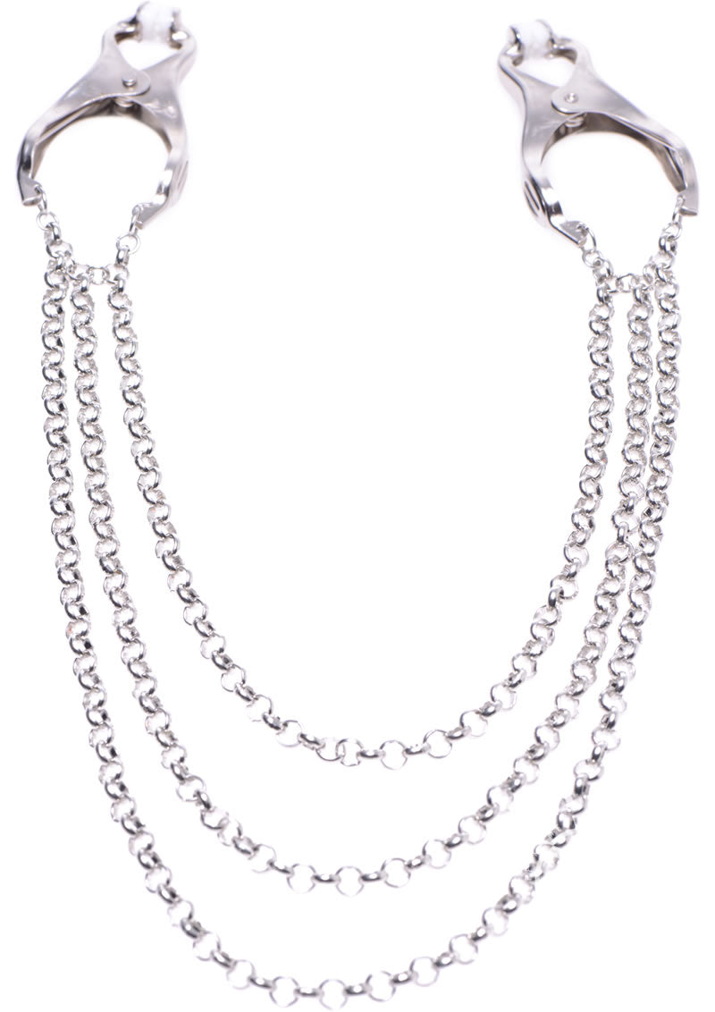Master Series Affix Triple Chain Nipple Clamps - Silver