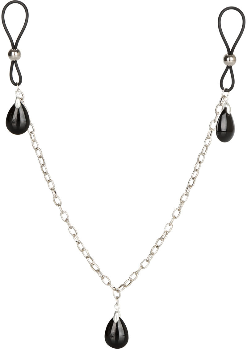 Nipple Play Non Piercing Nipple Chain Jewelry - Onyx