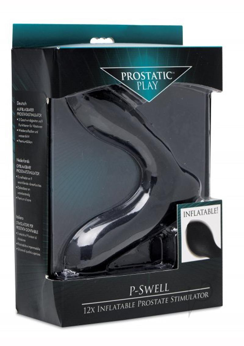 Prostatic Play P-Swell Rechargeable Silicone Inflatable Vibrating Prostate Stimulator - Black