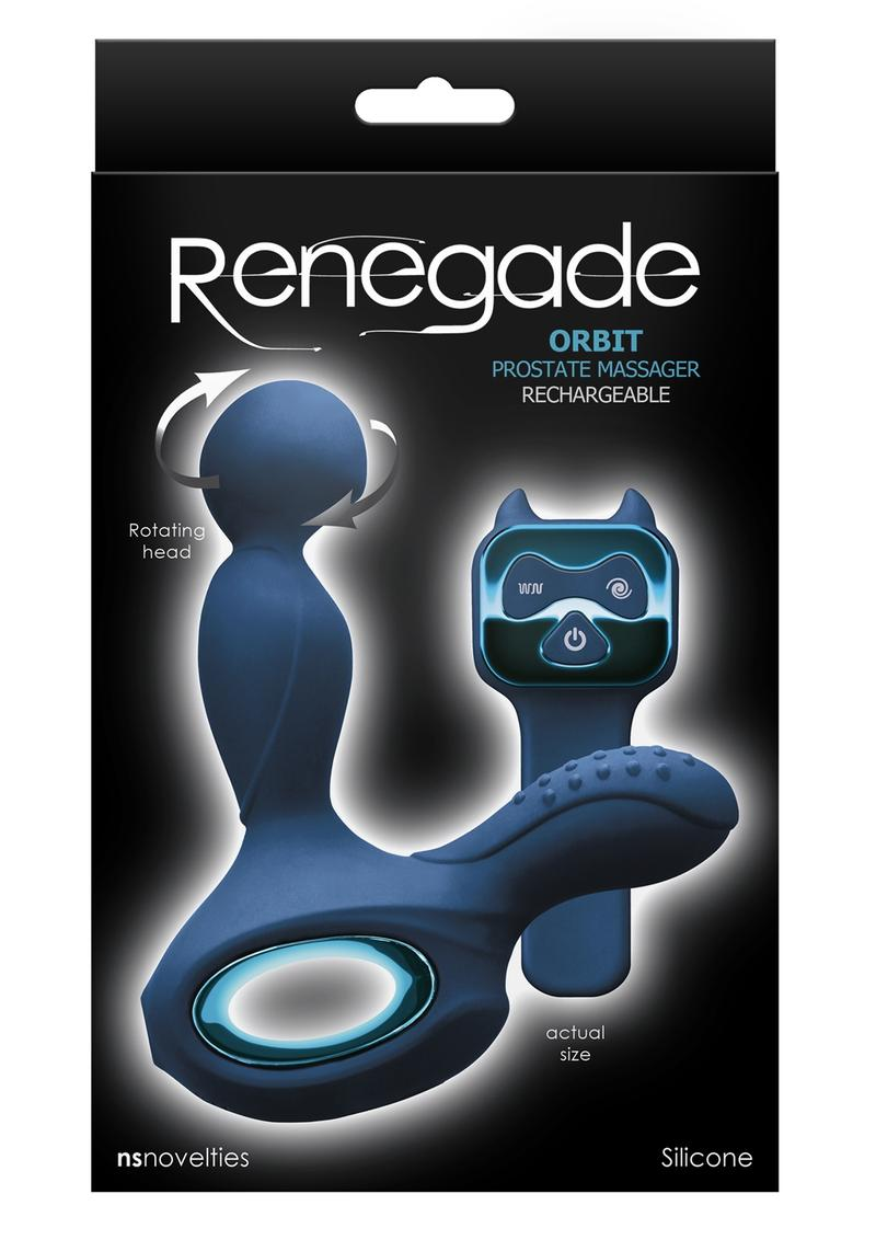 Renegade Orbit Rechargeable Silicone Vibrating Rotating Heated Prostate Stimulator With Remote Control - Blue