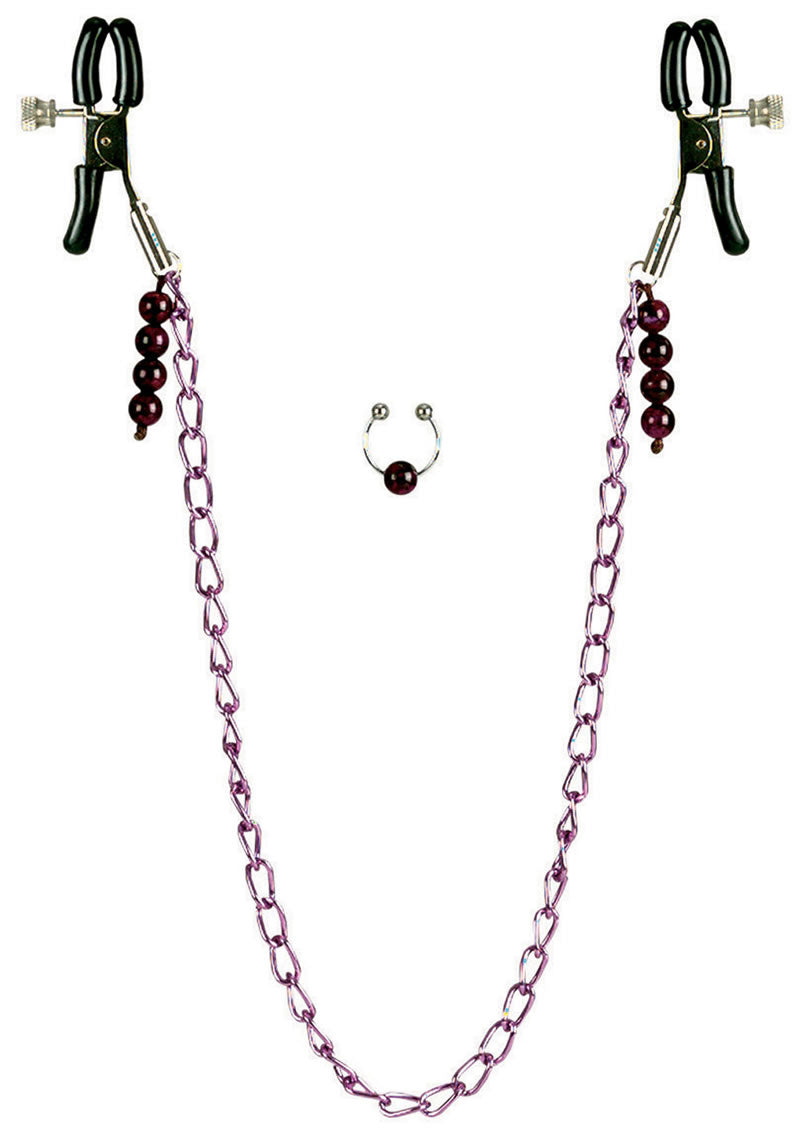 Nipple Play Purple Chain Nipple Clamps - Purple
