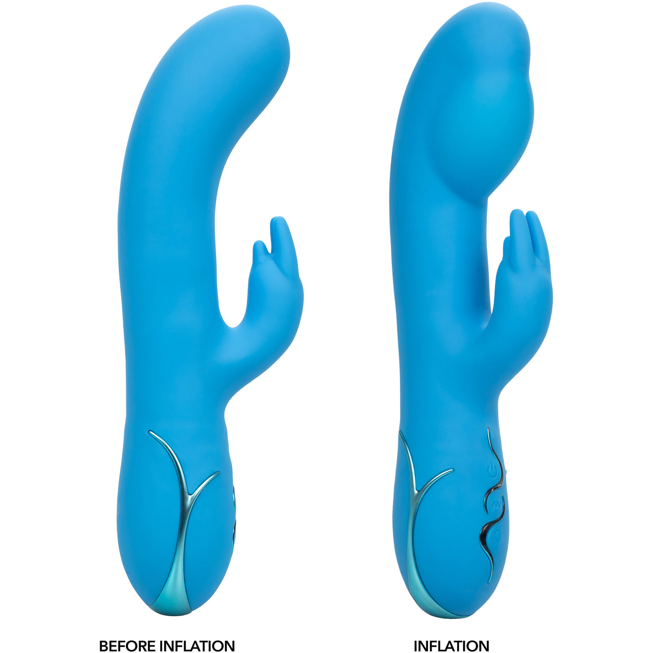 Insatiable G Inflatable G-Bunny Rabbit Style Silicone Rechargeable Vibrator, Blue by CalExotics