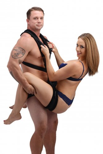 Frisky Stand and Deliver Sex Position Body Sling - Black