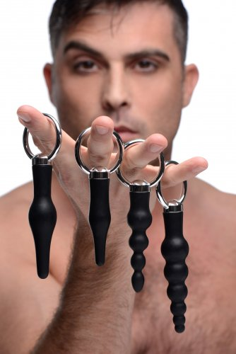 Master Series 4 Piece Anal Rimmer Ringed Silicone Kit - Black