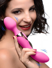 Wand Essentials Double Silicone Vibrating Wand Massager - Pink