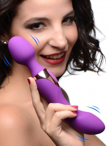 Wand Essentials Double Silicone Vibrating Wand Massager - Purple