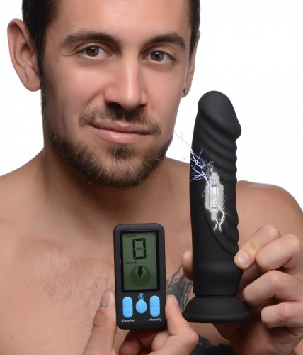 Zeus Vibrating & E-Stim Rechargeable Silicone Dildo With Remote Control 7.9in- Black