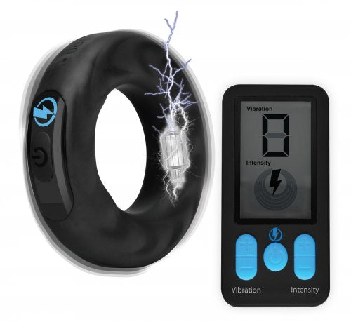Zeus Vibrating & E-Stim Silicone Rechargeable Cock Ring With Remote Control - Black