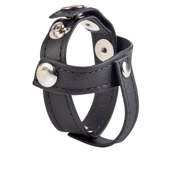 COLT Leather C/B Strap H Piece Divider Cock Ring - Black