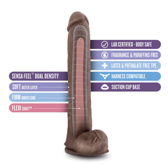 Au Naturel Daddy Sensa Feel Dual Density Dildo With Balls 14in - Chocolate