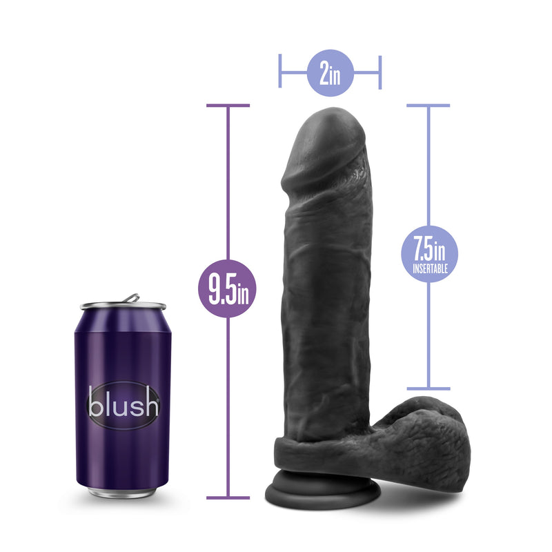Au Naturel Bold Massive Dildo With Suction Cup 9in - Black