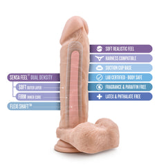 Au Naturel Dildo with Suction Cup 9.5in - Vanilla