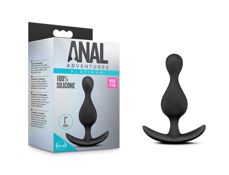 Anal Adventures Platinum Wave Silicone Butt Plug - Black