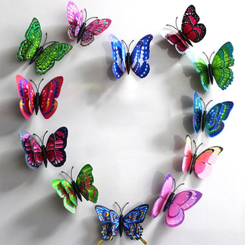 10pcs  Artificial Butterfly Luminous Fridge Magnet