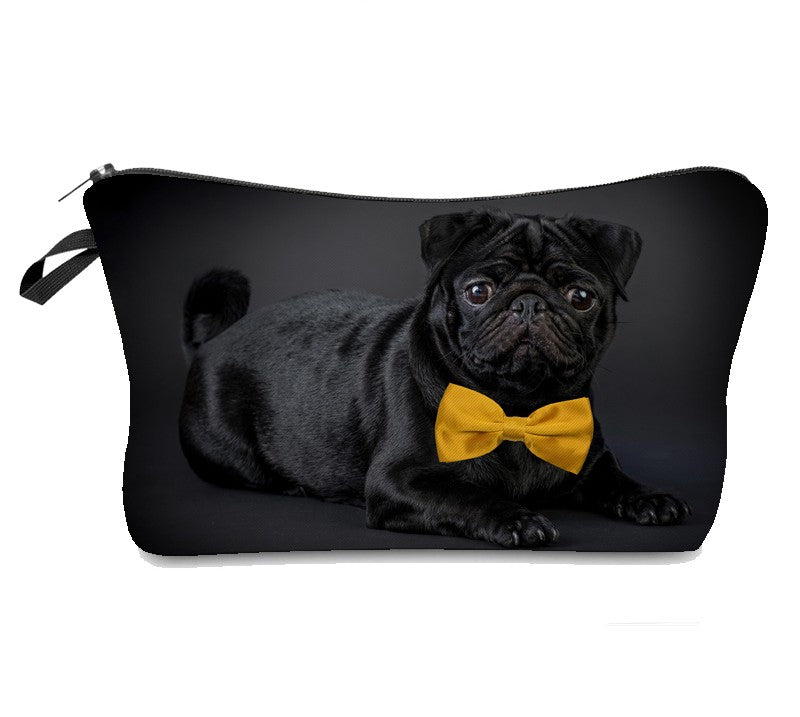 Pug With Bow Tie Makeup Bag