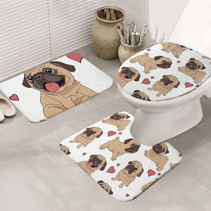 Pug Love  Bathroom Mat 3-Piece Set