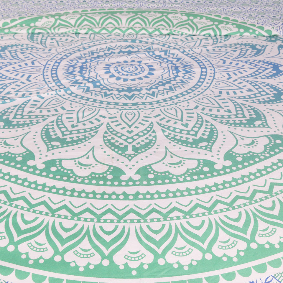 Blue and Green Mandala Flower Tapestry