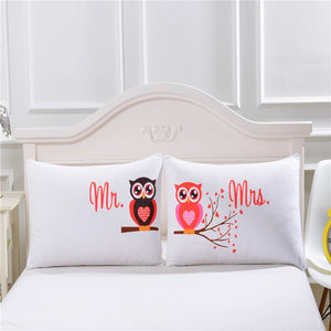 Mr and Mrs Owls Romantic Pillowcase