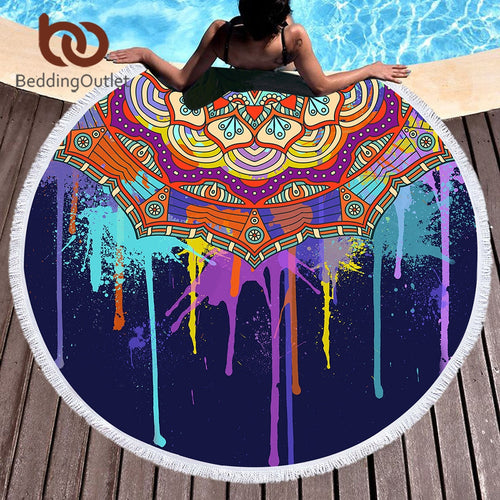 Mandala Water Color Drip Round Beach Towel
