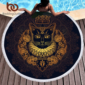The Golden Cat Round Beach Towel