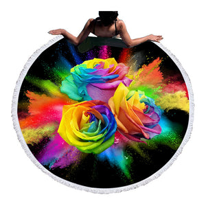 Rainbow Roses Round Beach Towel