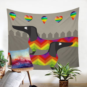 Rainbow Dachshund Party Tapestry