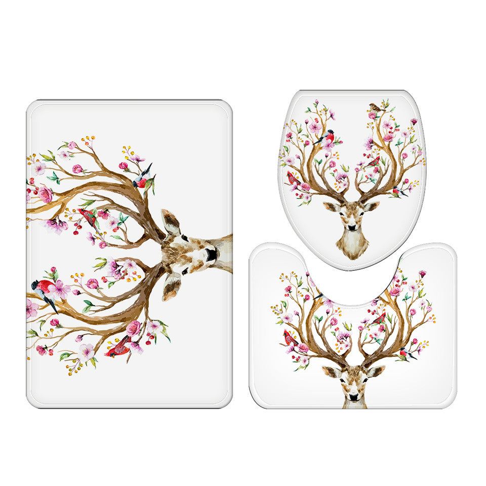 Floral Elk Deer Non-slip Bathroom Mat 3-Piece Set