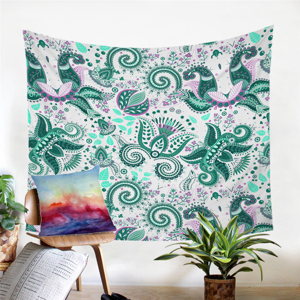 Floral Paisley Butterfly Tapestry