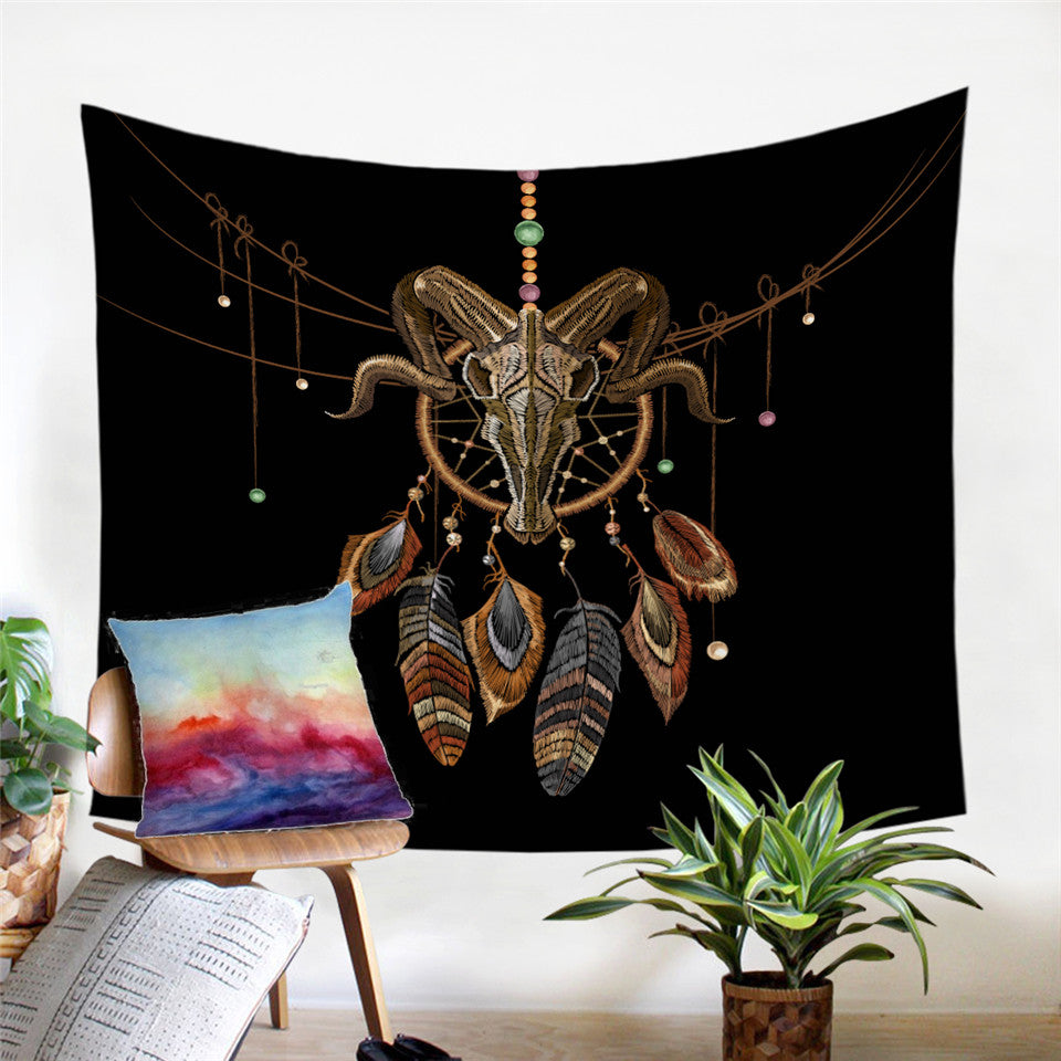 Skull & Dreamcatcher Tapestry
