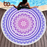 Mandala Purple Round Beach Towel
