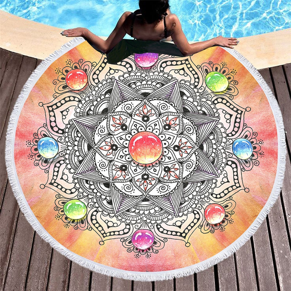 Mandala & Gemstone Round Beach Towel