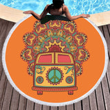 Orange Volkswagen Bus Round Beach Towel