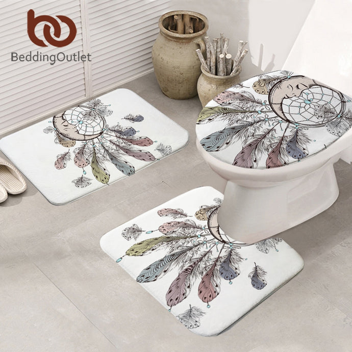 Moon Dreamcatcher Bathroom Mat 3-Piece Set