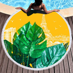 Plants In Paris Round Beach Towel