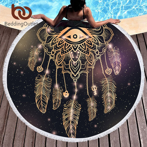 Third Eye Dream Catcher Round Beach Towel