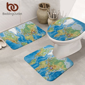 World Map Bathroom Mat 3-Piece Set