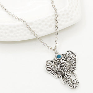 Bohemian Blue Stone Elephant Pendant Necklace