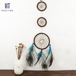 3 Ring Peacock Feather Dream Catcher