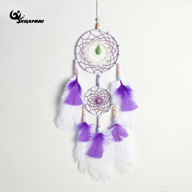 White And Purple Feather Dream Catcher