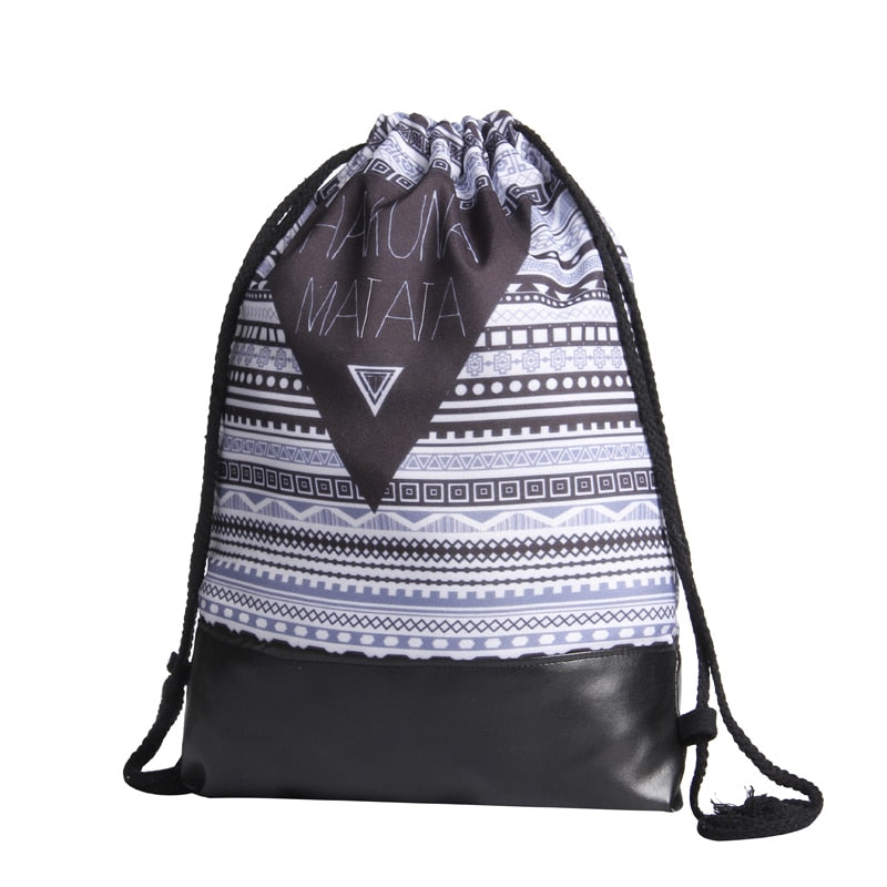 Hakuna Matata Drawstring Bag With Leather Bottom