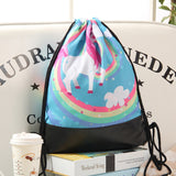 Unicorn And Rainbow Swirls Drawstring Bag With Leather Bottom