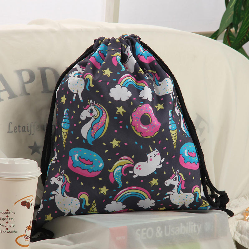 Unicorn And Sweets Drawstring Bag