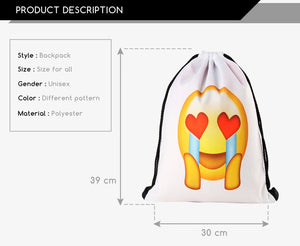 Crying Heart Eye Emoji Drawstring Bag
