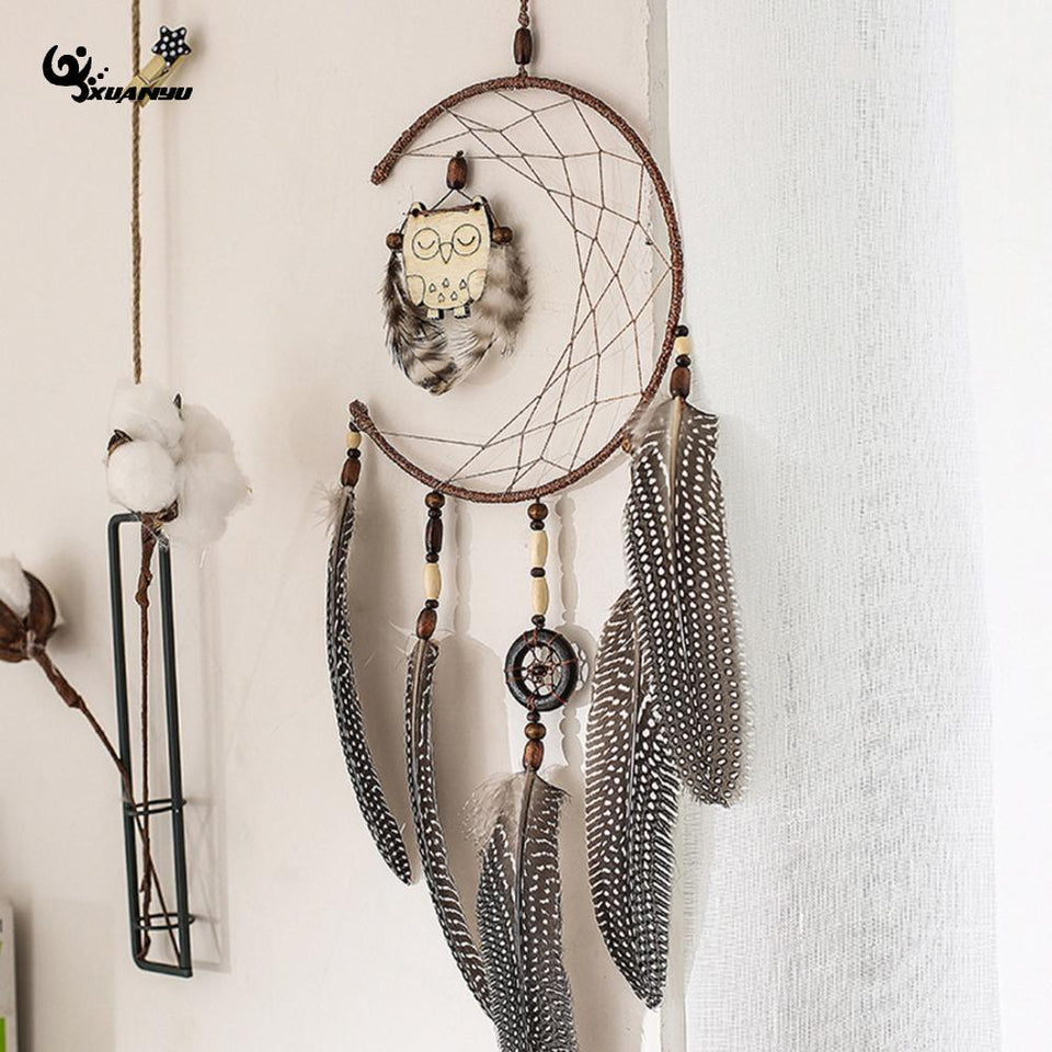 Half Moon Sleeping Owl Dream Catcher