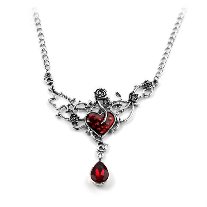 Red Heart And Rose Vine Necklace