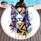 Shattered Tiger by Pixie Cold Art Large Round Beach Towel